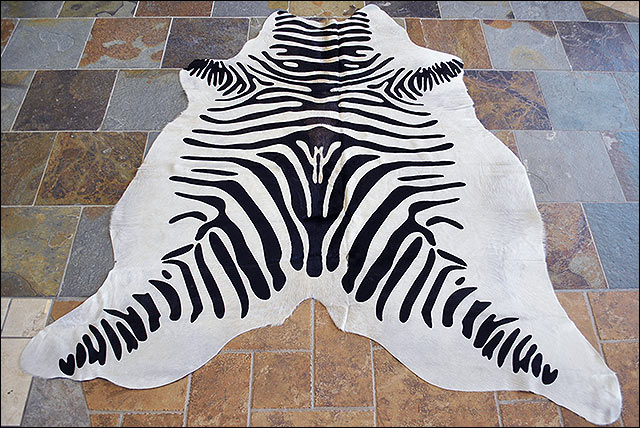 Hs907f hilason zebra stencil pure brazilian hair on full for Cowhide rug houston