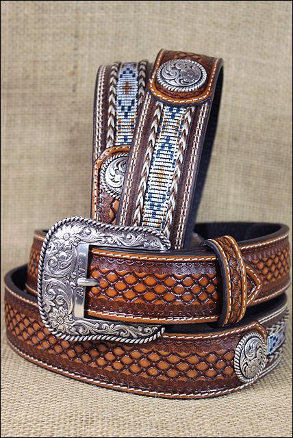Basket Weaving Houston : Inch m f western ariat leather mens belt basketweave