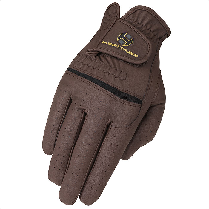 8 SIZE HERITAGE PREMIER SHOW RIDING GLOVES HORSE EQUESTRIAN - CHOCOLATE